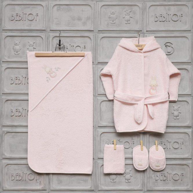 gaye bebe kiz bebek iyi uykular bornoz seti kopya 01 scaled - Bebitof Kız Bebek Cafedeki Tavşan Bornoz Seti