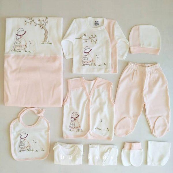 gaye bebe sapkali kiz 10 lu hastane cikisi pudra 02 scaled - Gaye Bebe Şapkalı Kız 10'lu Hastane Çıkışı - Pudra