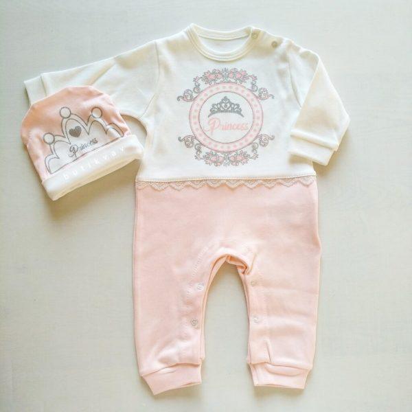 kiz bebek ayicik motifli tulum sapka seti 6 9 ay 01 scaled - Miniworld Kız Bebek Prenses Tulum & Şapka Seti 6 Ay