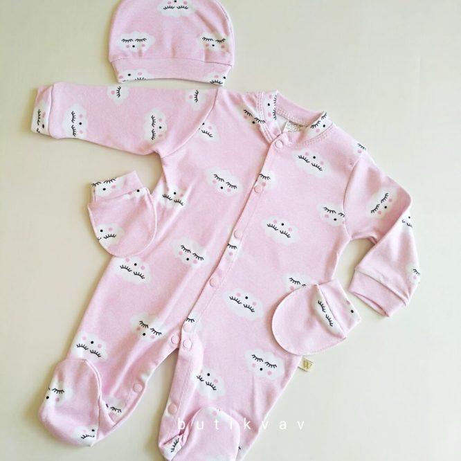 kiz bebek hastane cikisi tulum seti 0 1 ay 01 scaled - Kız Bebek Hastane Çıkışı Tulum Seti 0-1 Ay