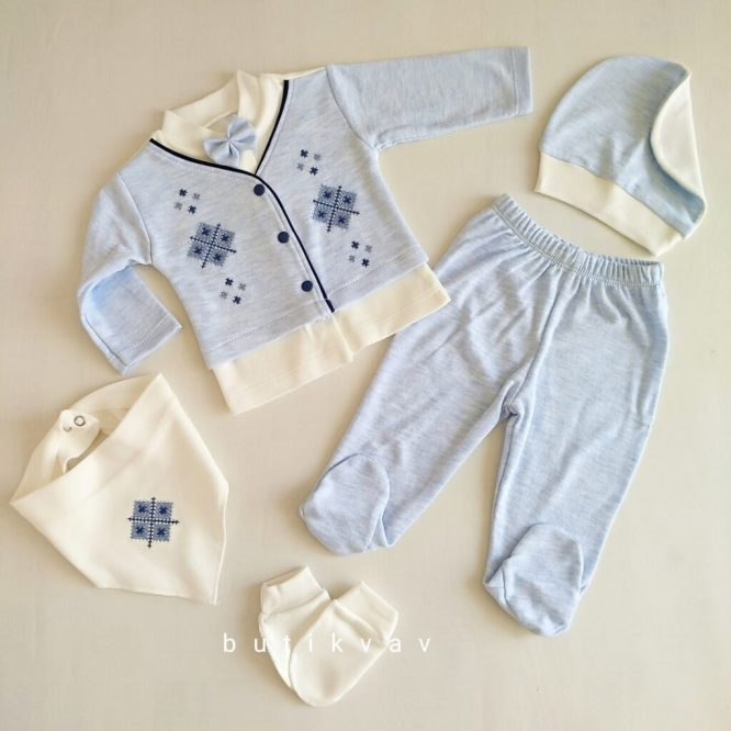 bebelinna erkek bebek kanaviceli 5 li hastane cikisi 01 scaled - Bebelinna Erkek Bebek Kanaviçeli 5'li Hastane Çıkışı