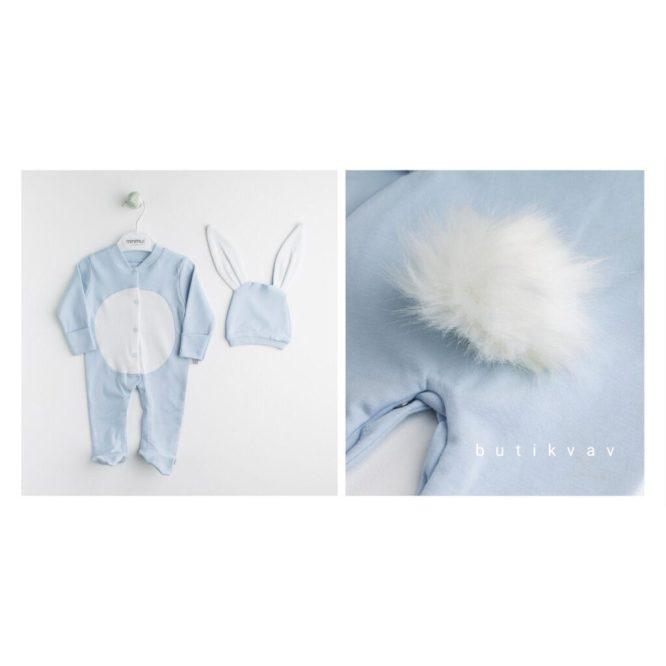erkek bebek tavsan tulum battaniye seti mavi 04 scaled - Ponponlu Tavşan Tulum Battaniye 5'li Set - Mavi