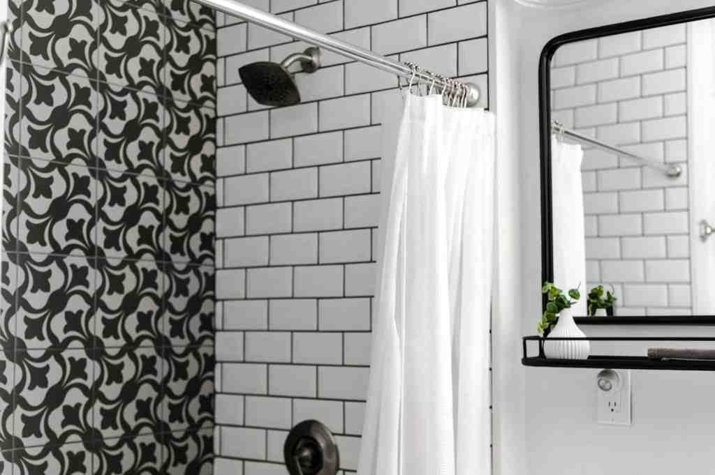 monochrome themed shower