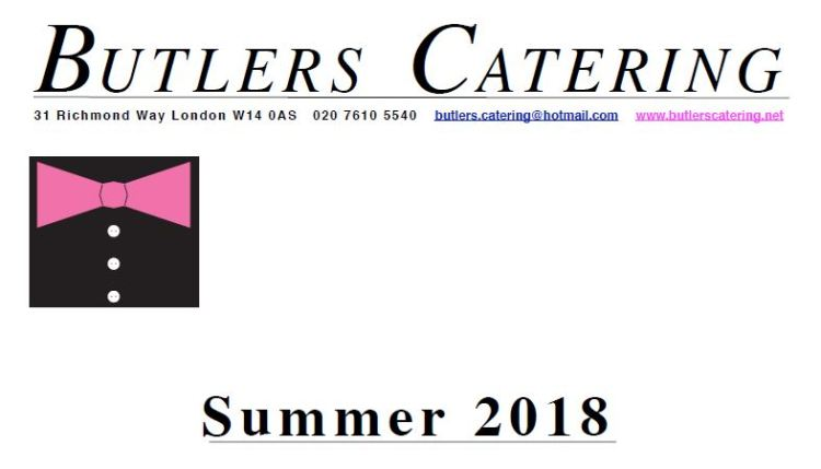 Butlers Catering Summer 2018