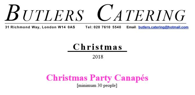 Butlers Catering UK Christmas Canapés 2018