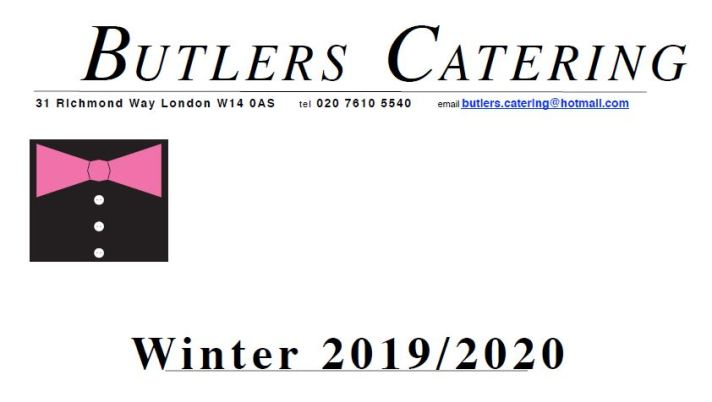 Butlers Catering Winter Brochure 2019