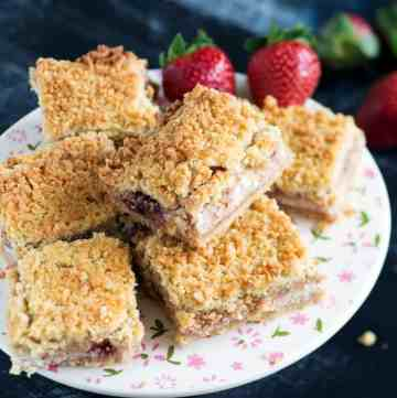 A platter of Strawberry Shortbread Bars