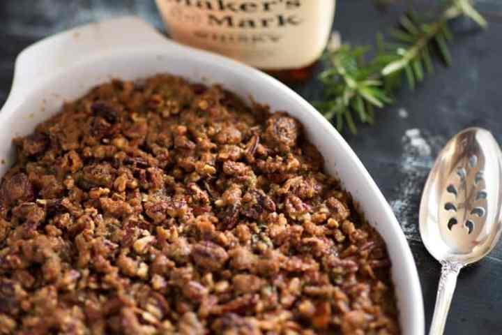 Bourbon sweet potato casserole in a baking dish