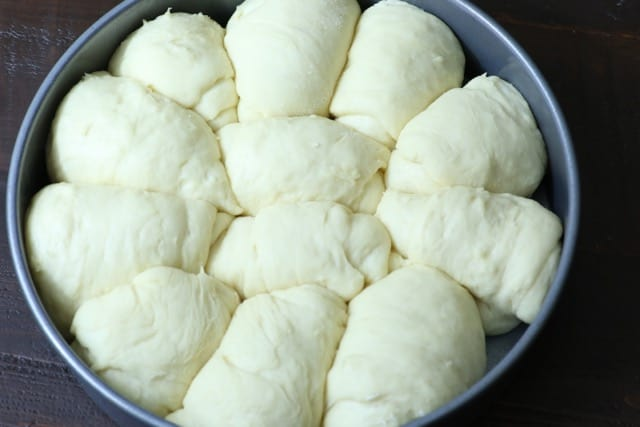 A pan of raw Fulffy Dinner Rolls