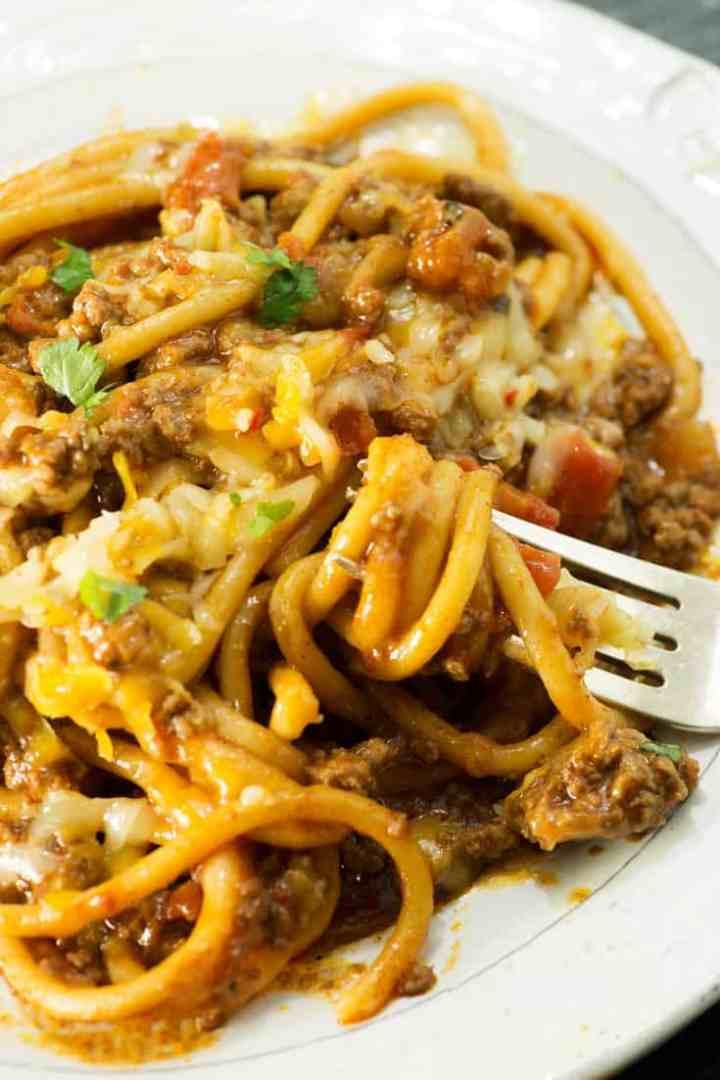 A fork full of taco spaghetti