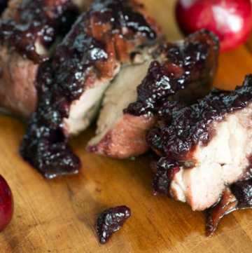 Fresh or Frozen cherries add sweetness to a savory chutney that's the perfect accompaniment for a grilled pork tenderloin. A great choice when it's too hot to turn on the oven |butterandbaggage.com