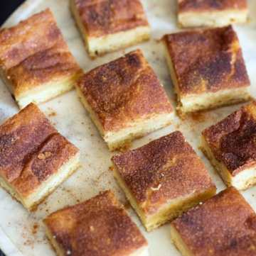 Snickerdoodle Bars on a platter