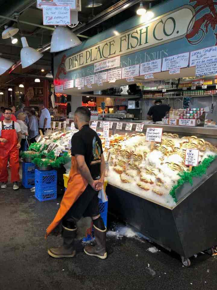 A seafood stall at Pikes Place Market