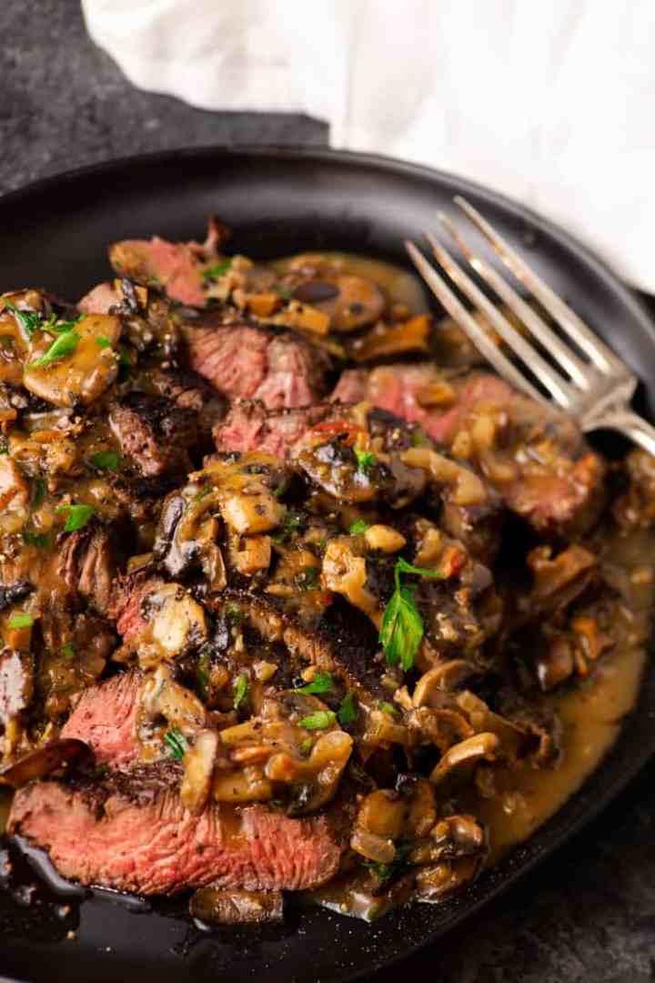 A platter of Steak Marsala