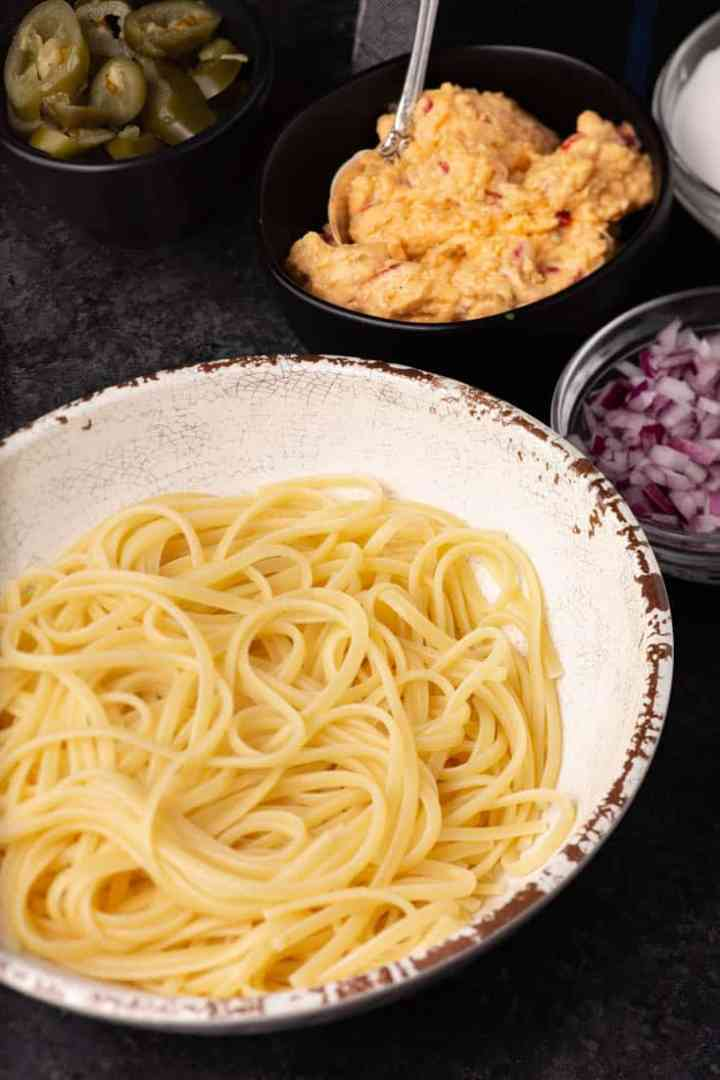 A bowl of spaghetti for Cincinnati chili