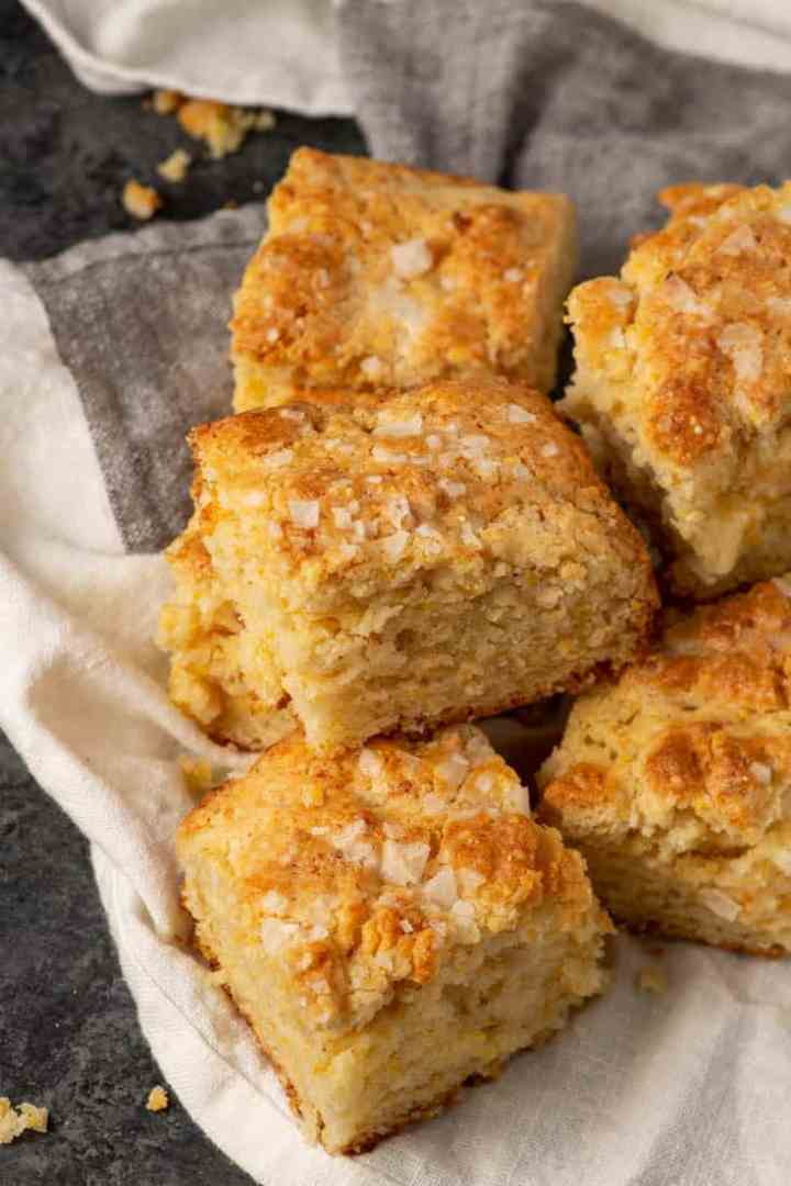 Cornbread biscuits on a linen napkimng