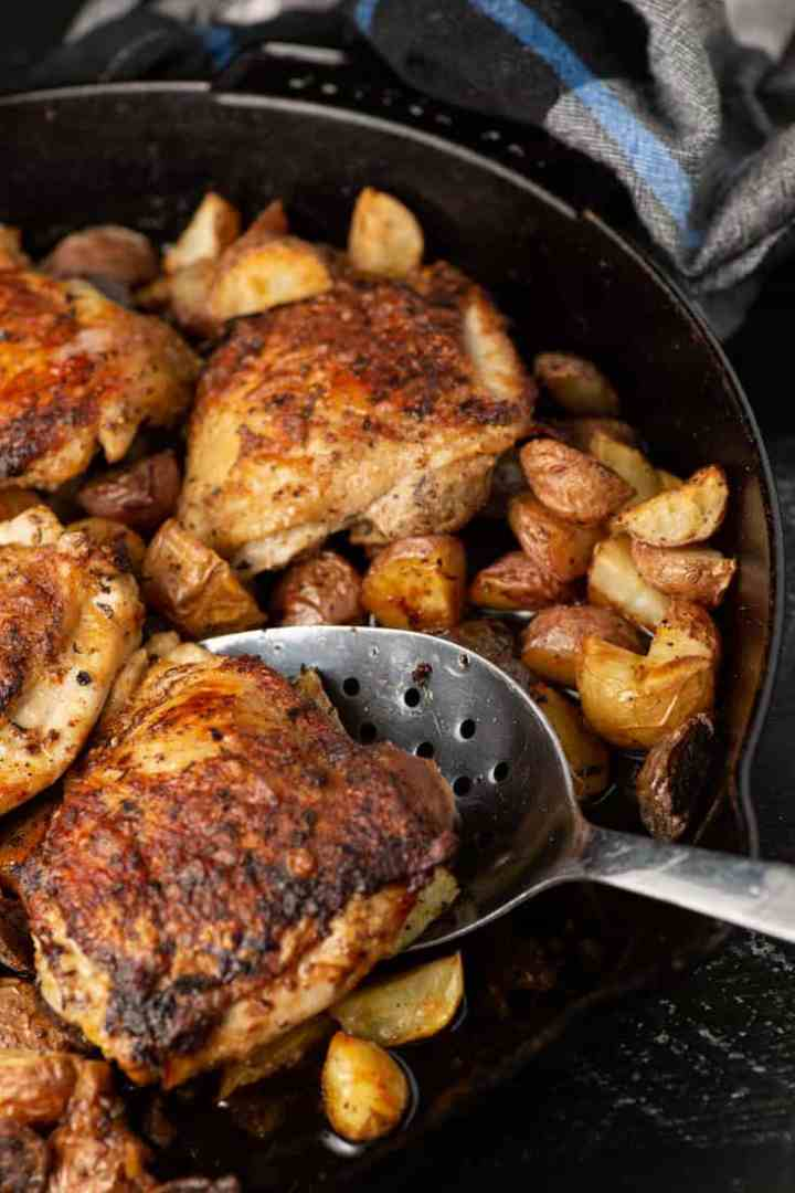A serving of roasted chicken and potatoes
