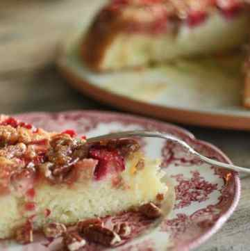 Rhubarb Upside Down Pound Cake on a plate