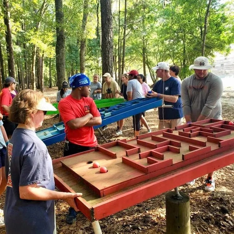 Table Maze at Woodland Encounter Course Butter and Egg Adventures