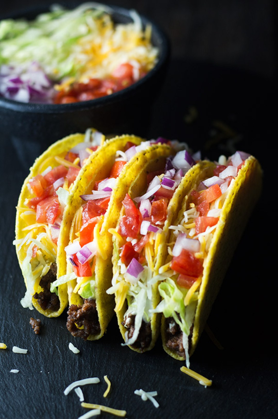 Crunchy Beef Tacos - Easy to make and fun to eat crunchy beef tacos, packed with delicious flavors. It's a great go-to weeknight meal, especially on Taco Tuesday nights. | butterandthings.com