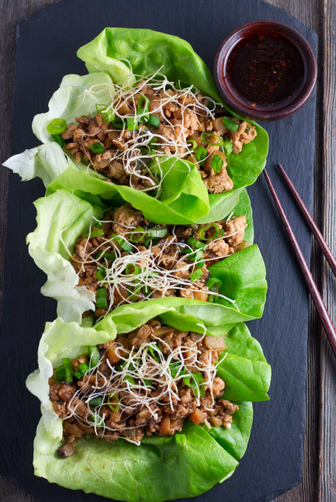 Chicken Lettuce Wraps is a delicious starter or meal. The combination of chicken and the veggies is delightful. | www.butterandthings.com