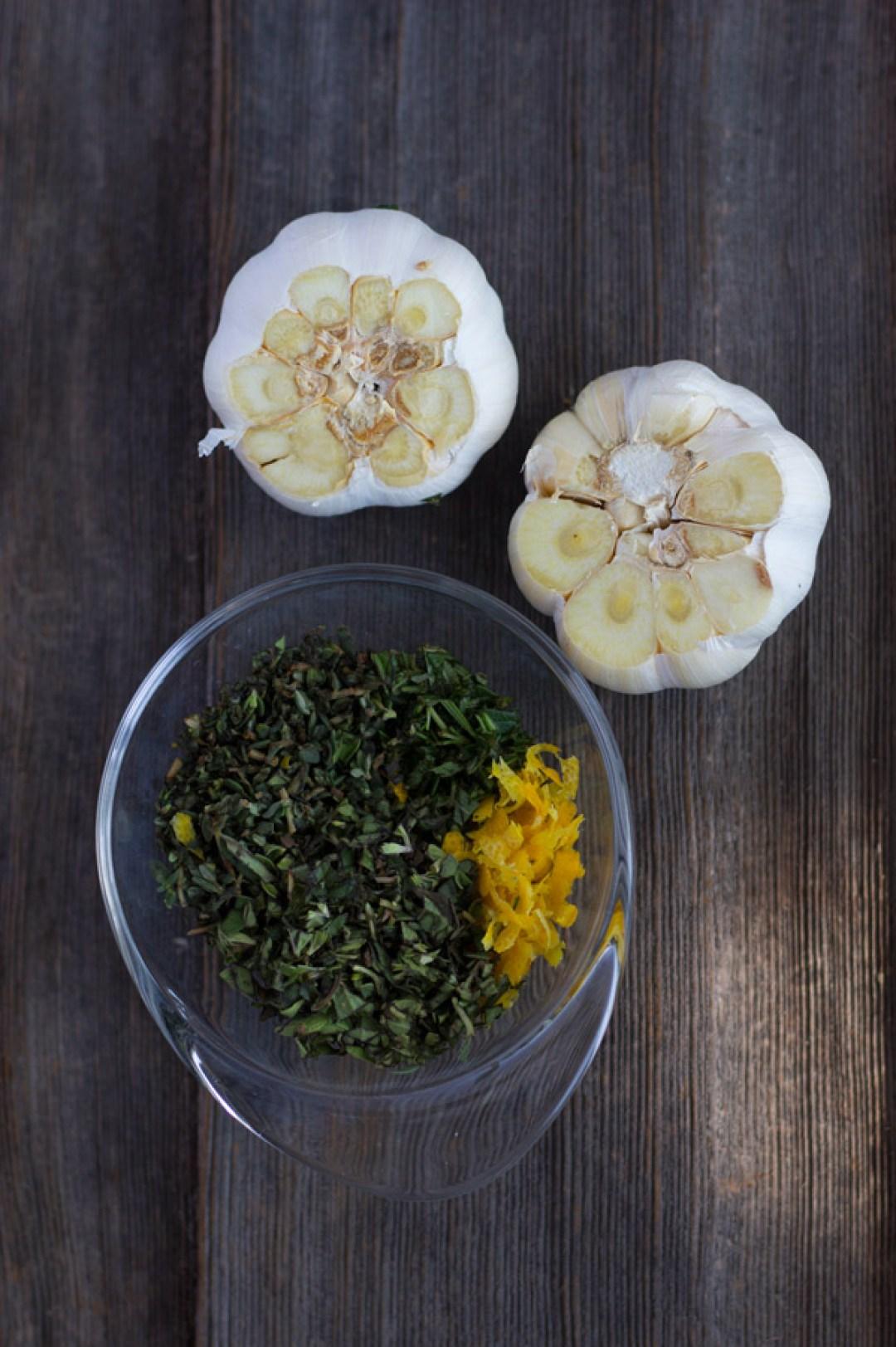 Lemon Herb Roasted Chicken - Chopped Herbs Lemon Zest Garlic   www.butterandthings.com