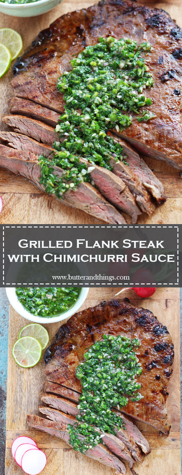 Grilled-Flank-Steak-with-Chimichurri-Sauce-P | www.butterandthings.com