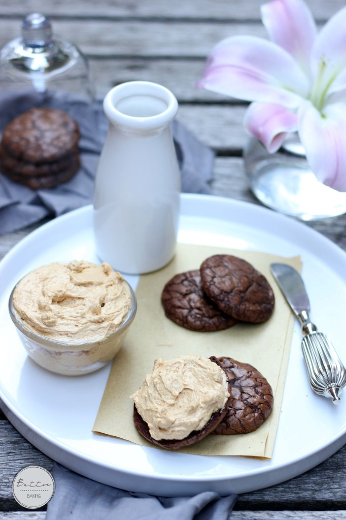 Brownie sandwich cookies with salted caramel buttercream | Butter Baking