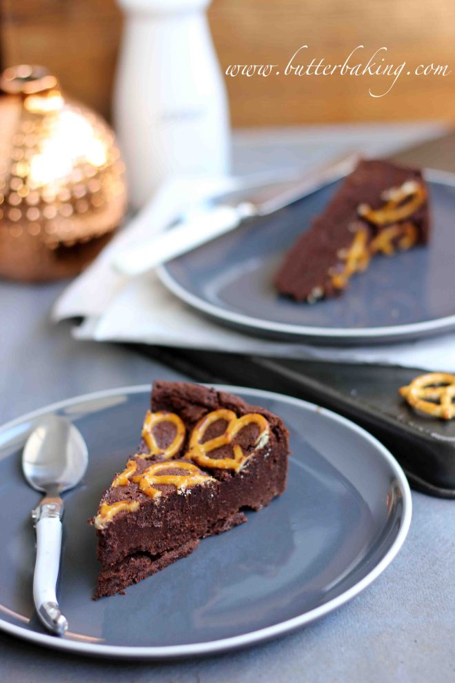 Flourless Salted Chocolate Fudge Cake with Pretzels | Butter Baking