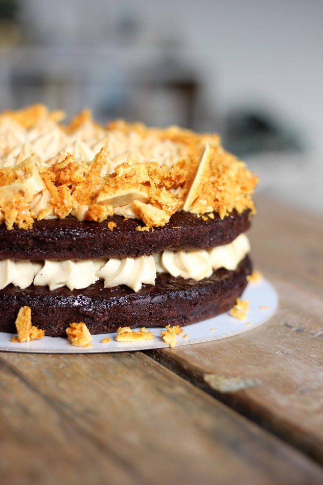 Chocolate fudge, peanut butter cheesecake and honeycomb layer cake | Butter Baking