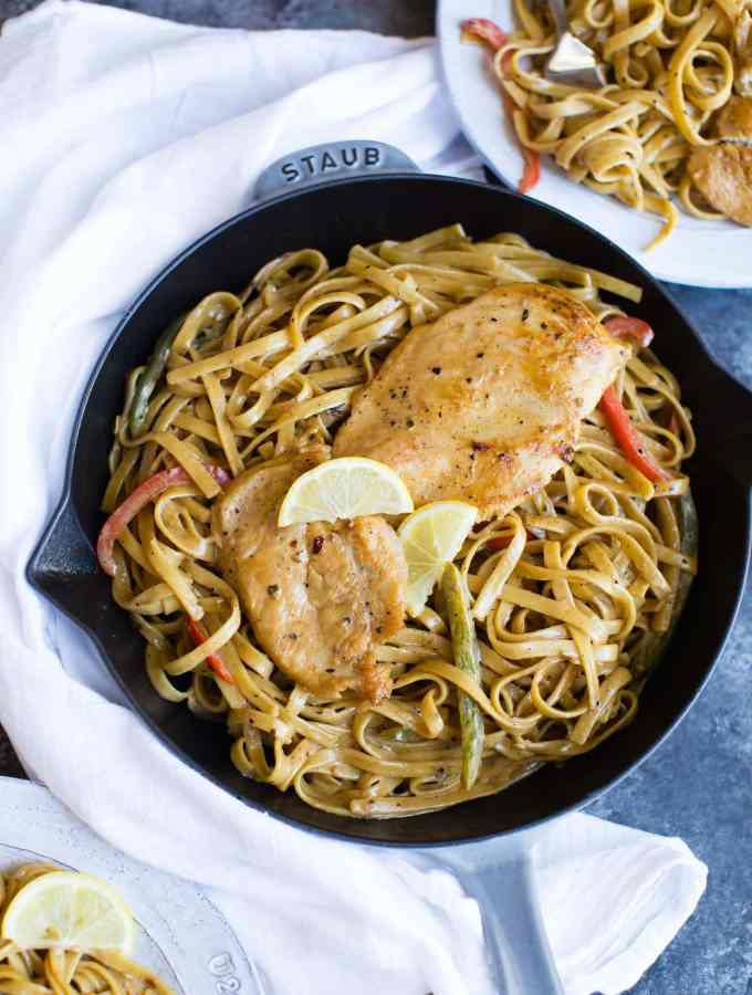 Chicken Fettuccine with Lemon Cream Sauce