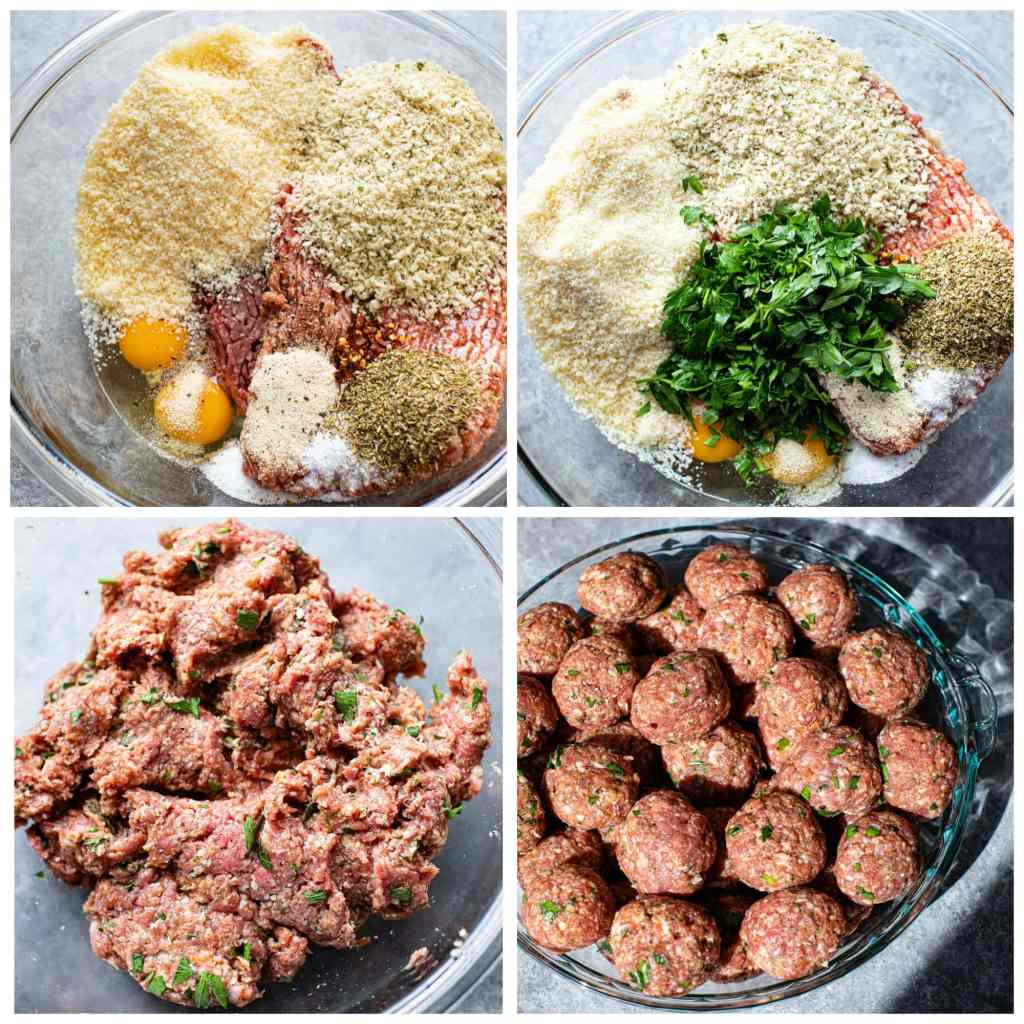 four pictures of uncooked meat and herbs in a bowl