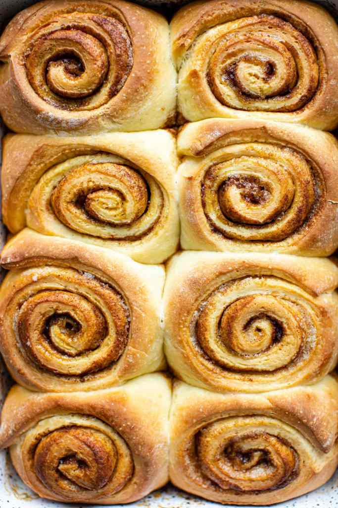 unfrosted cinnamon rolls in a speckled baking dish