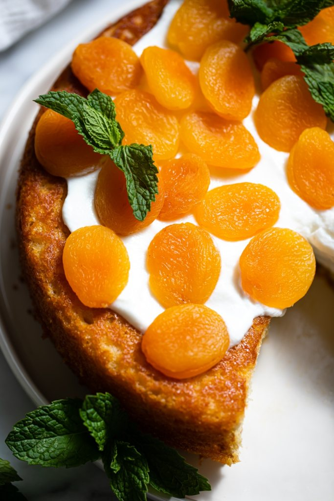 close up of apricots on cake
