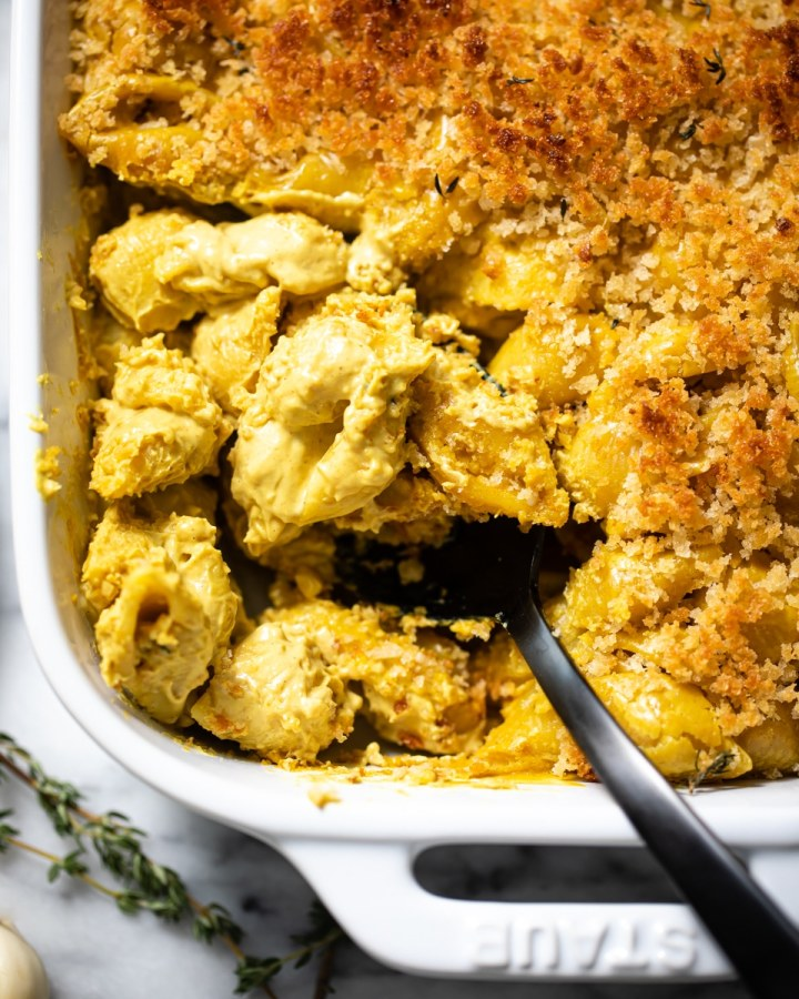 close up of vegan Mac and cheese in white baking dish