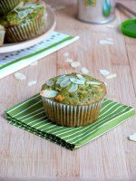 Matcha Almond White Chocolate Chip Muffins