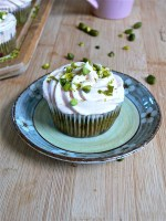 My Pistachio  Cupcakes with Strawberry Cream Cheese Frosting