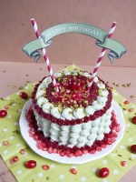 Pistachio Pomegranate Cranberry Layer Cake