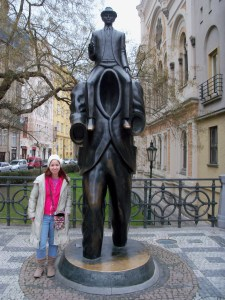 Me with statue of Franz Kafka in Prague