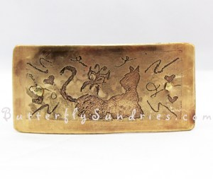"This etched brass hair clip features a cat watching a butterfly, and is the first hair clip to be included in Spokane Humane Society's Inspired ""Fur Babies"" Collection!"