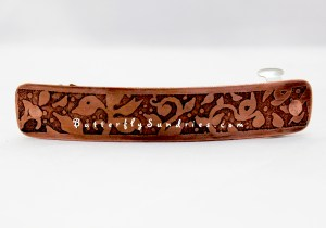 This beautiful 80mm etched copper hair clip was created as a custom order for one of my clients.