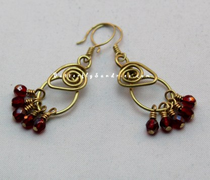 OOAK Handmade Brass Tendrils of the Vine Link Earrings with Red Glass Beads