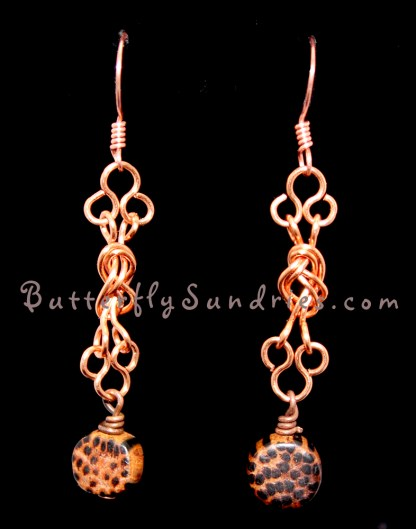 Naval Knot Wood Round Earrings