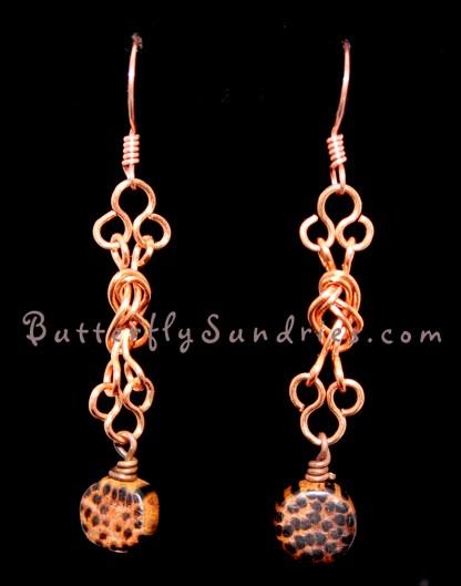 Naval Knot Wood Round Earrings