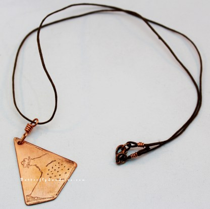 Etched Copper Bascinet Pendant on White