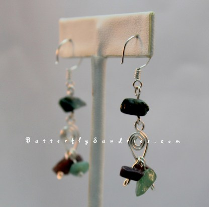 SS Leaf and Jasper Earrings Hanging on White Reverse