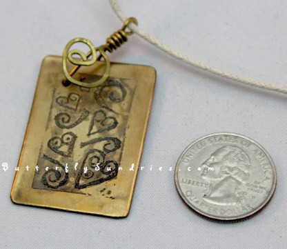 YB Etched Heart and Spiral Pendant Perspective on White