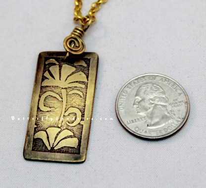 YB Floral Etched Pendant Perspective on White