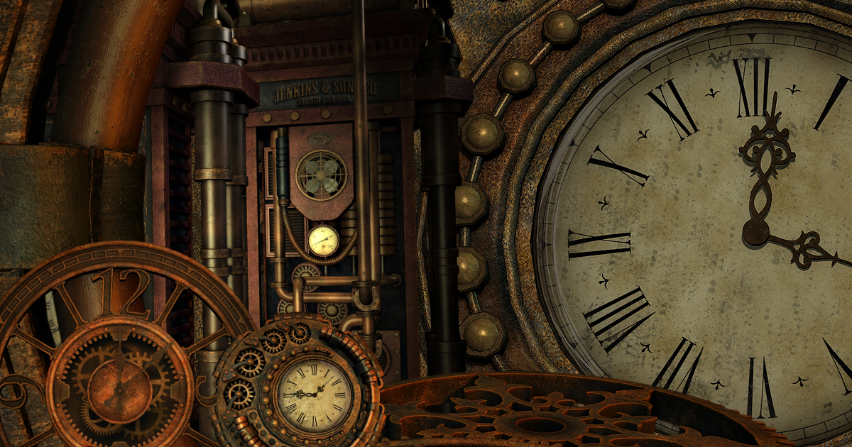 Lost In Time Steampunk Graphics ButterflyWebGraphics