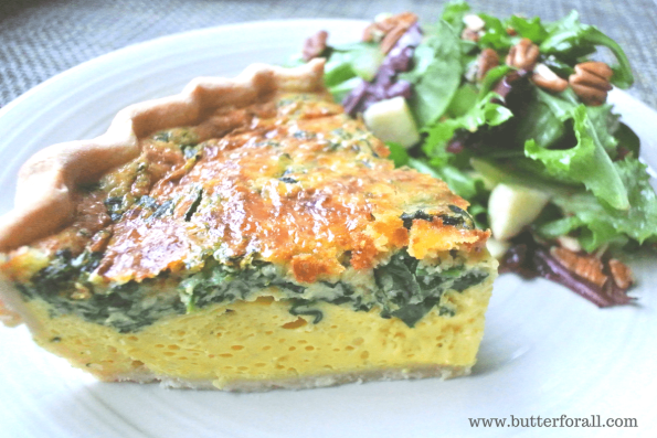 A traditional Quiche with a flaky, lard pie crust.